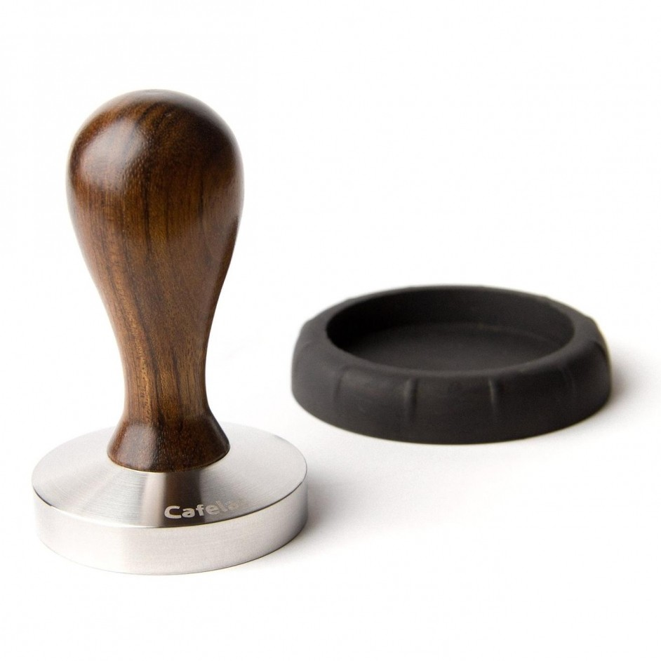 Tamper drop hout walnoot Cafelat