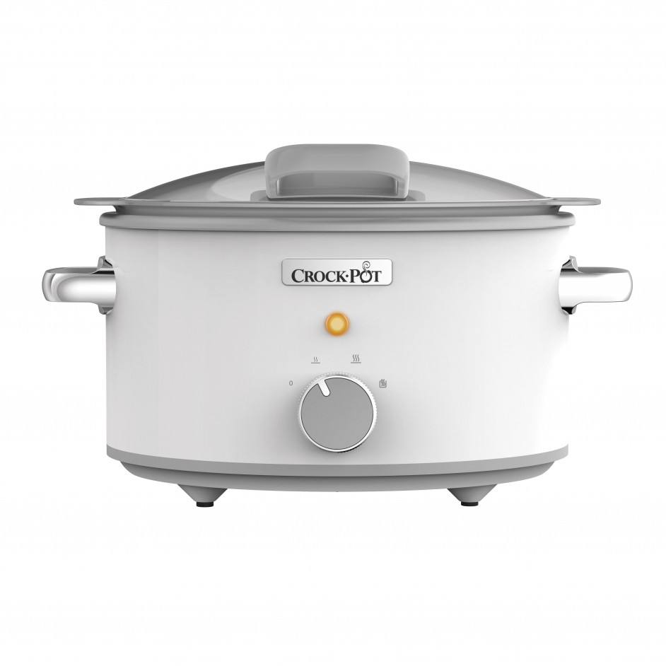 Crock-Pot DuraCeramic Sauté Slow Cooker White 5L Hinged Lid