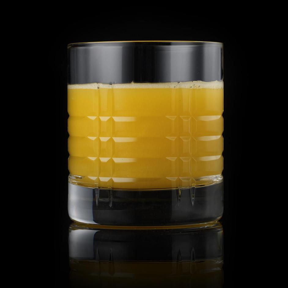 Orange juice clear on black